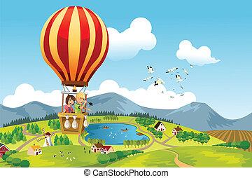 ridande, varm, lurar, balloon, luft