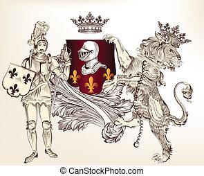riddare, heraldisk, design