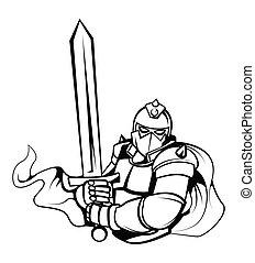 riddare, vektor, illustration, krigare