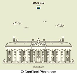 riddarhuspalatset, ícone, marco, estocolmo, sweden.