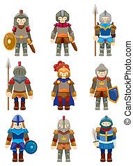 ridder, cartoon, ikon
