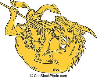 ridder, draak, tekening, speer, vecht