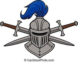 ridder, gekruiste, zwaard, helm