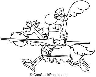 ridder, geschetste, paardrijden