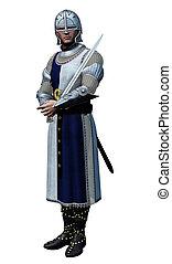 ridder, in, het glanzen, harnas, (3d, render