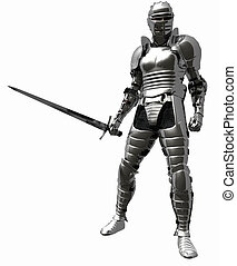 ridder, in, middeleeuws, harnas, -, 1