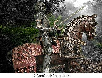 ridder, op, horseback