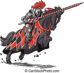 ridder, paarde, vector, spotprent, jousting