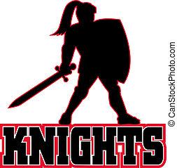 ridder, schild, zwaard, bovenkant