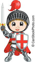 ridder, spotprent, jongen