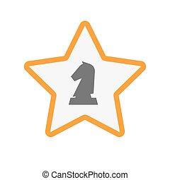 ridder, ster, vrijstaand, figuur, schaakspel