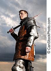 ridder, vasthouden, zwaard