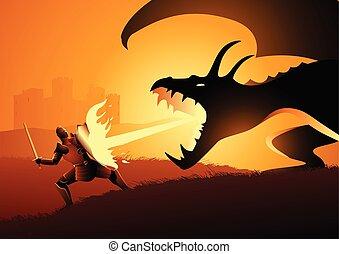 ridder, vecht, draak
