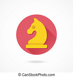 ridder, vector, schaakspel, pictogram