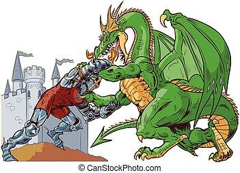 ridder, vector, worstelen, illustratie, draak