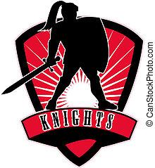 ridder, zwaard, schild, bovenkant