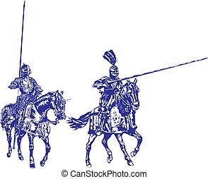 ridders, gemonteerd, eps, gemaakt