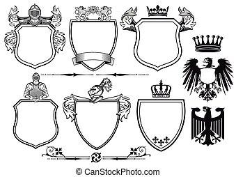 ridders, koninklijk, armen, jas