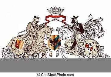 ridders, twee, heraldisch, ontwerp, o