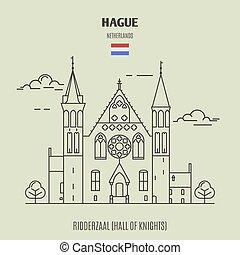 ridderzaal, en, hague, netherlands., señal, icono
