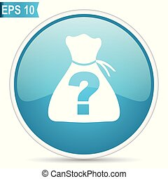 Riddle blue glossy round vector icon in eps 10. Editable modern design internet button on white background.