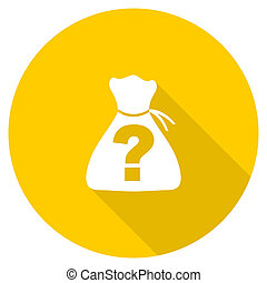 riddle flat design yellow web icon