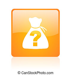 riddle orange square glossy web icon