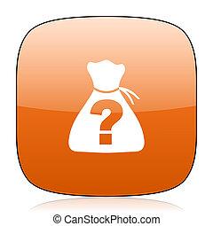 riddle orange square web design glossy icon