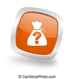 riddle square orange glossy chrome silver metallic web icon