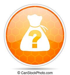 Riddle web icon. Round orange glossy internet button for webdesign.