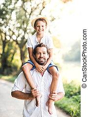 ride., 自然, 寄付, 父, 若い, 息子, piggyback, 小さい