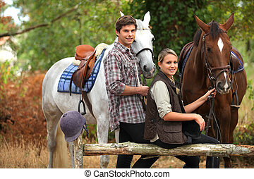 ride., couple, cheval