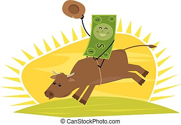 Ride For Success - Cartoon dollar bill rides a bull. Eps10