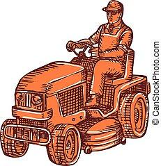 ride-on, cauterizando, jardineiro, mower
