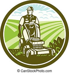 Ride On Lawn Mower Vintage Retro - Illustration of a...