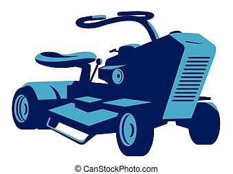 ride-on-mower-vintage-front - vector illustration of a ...