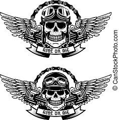 ride or die. Set of the skulls in racer helmets with wings isola