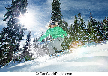 ride - view of a young girl snowboarding in winter ...