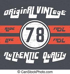 Ride vintage stamp - T-shirt print design. Original vintage...