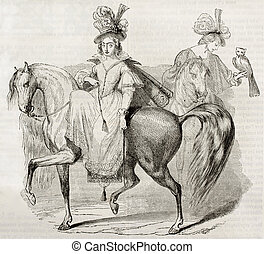 Ride - Woman riding: old engraving after painting of Drevet...