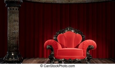 rideau étape, chaise, théâtre, luxueux