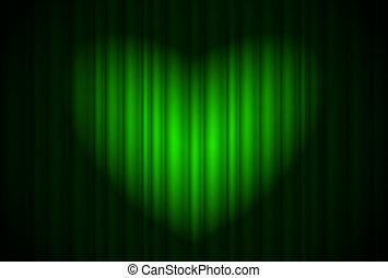 rideau, étape, forme coeur, projecteur, vert, grand