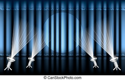 rideau, étape, spotlights., bleu, théâtre
