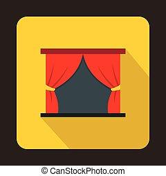 rideau, étape, théâtre, rouges, icône