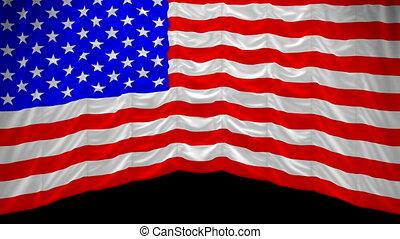 rideau, alpha, haut, drapeau etats-unis