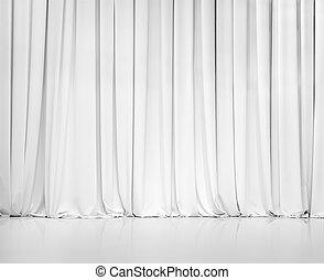 rideau, blanc, ou, fond, tentures