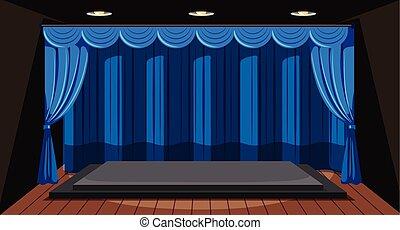 rideau bleu, étape vide