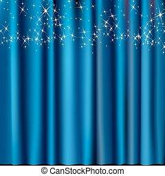 rideau bleu, étoiles