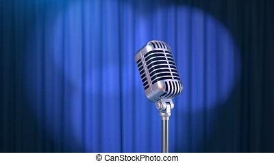 rideau bleu, microphone, retro