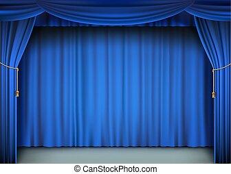 rideau bleu, stage., cinéma